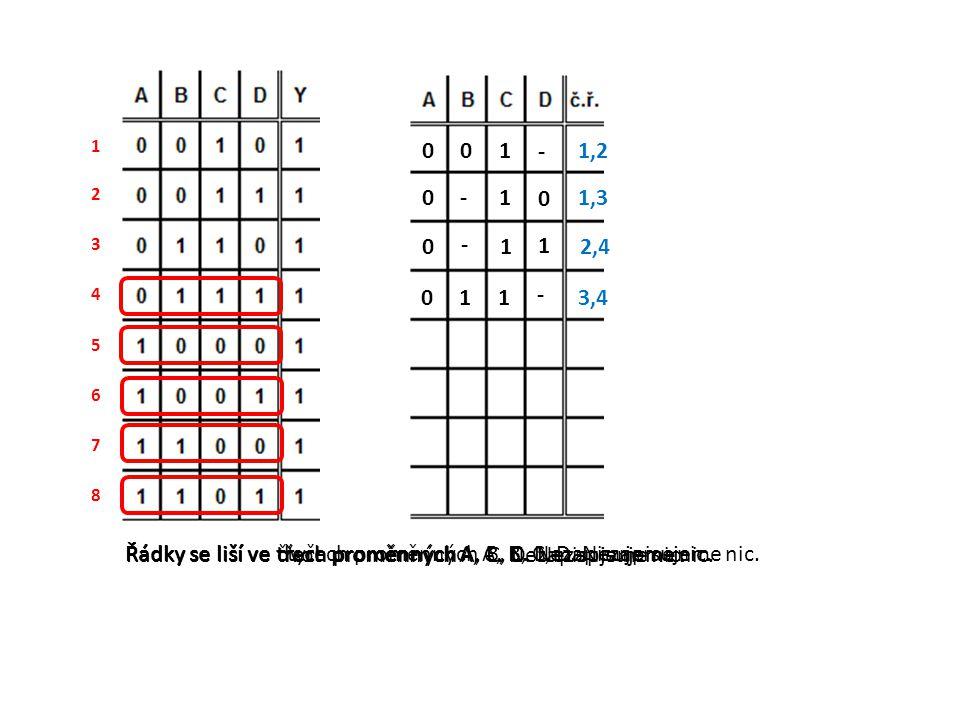 Řádky se liší ve třech proměnných A, B, C. Nezapisujeme nic.