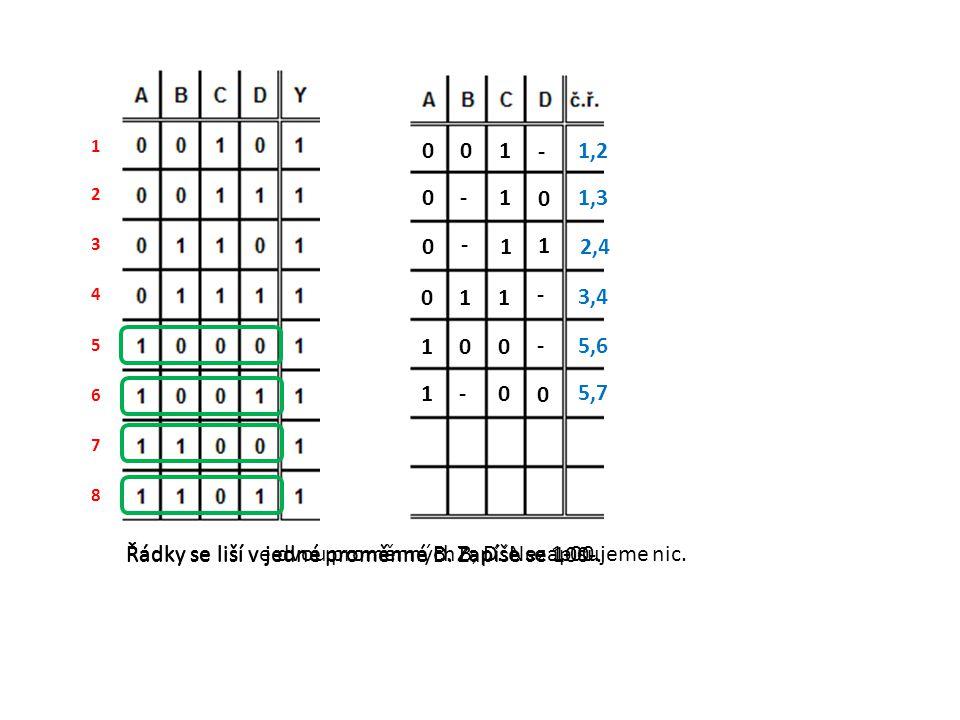 Řádky se liší ve dvou proměnných B, D. Nezapisujeme nic.