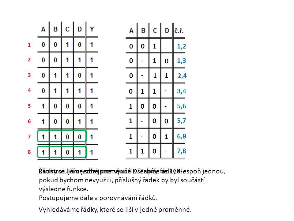 Řádky se liší v jedné proměnné D. Zapíše se 110-.