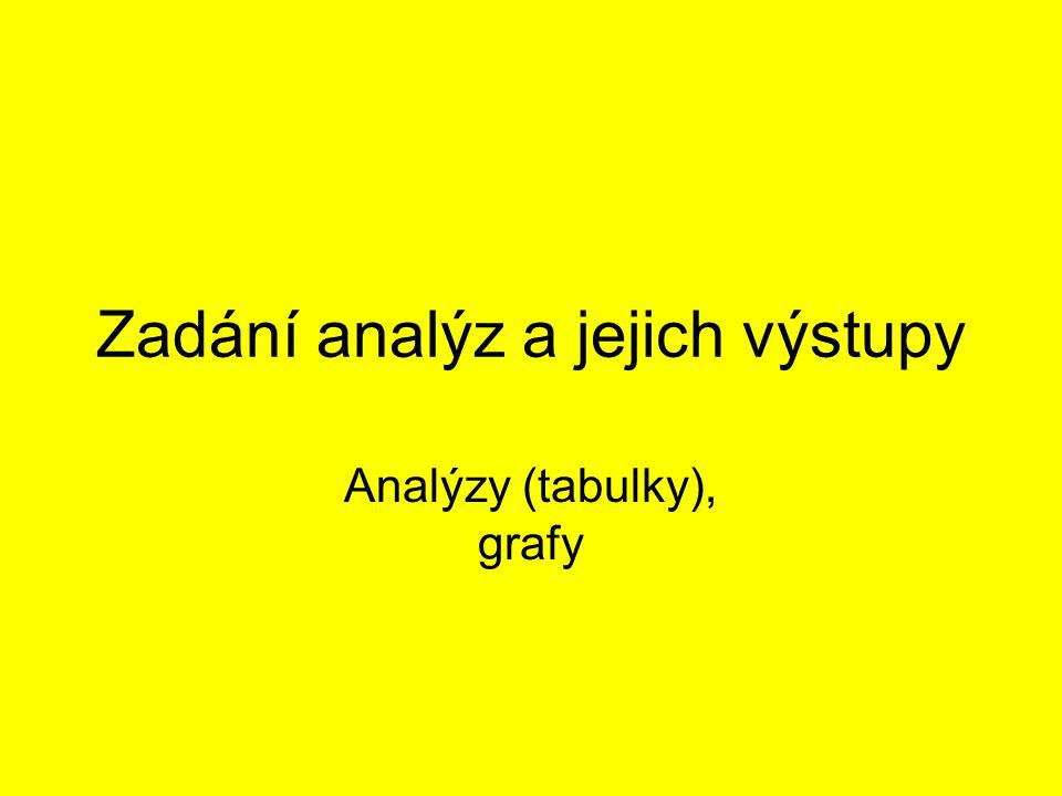 Zadání analýz a jejich výstupy