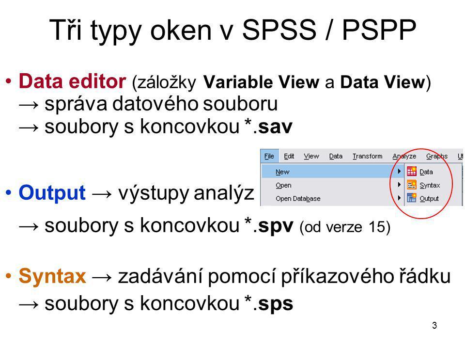 Tři typy oken v SPSS / PSPP