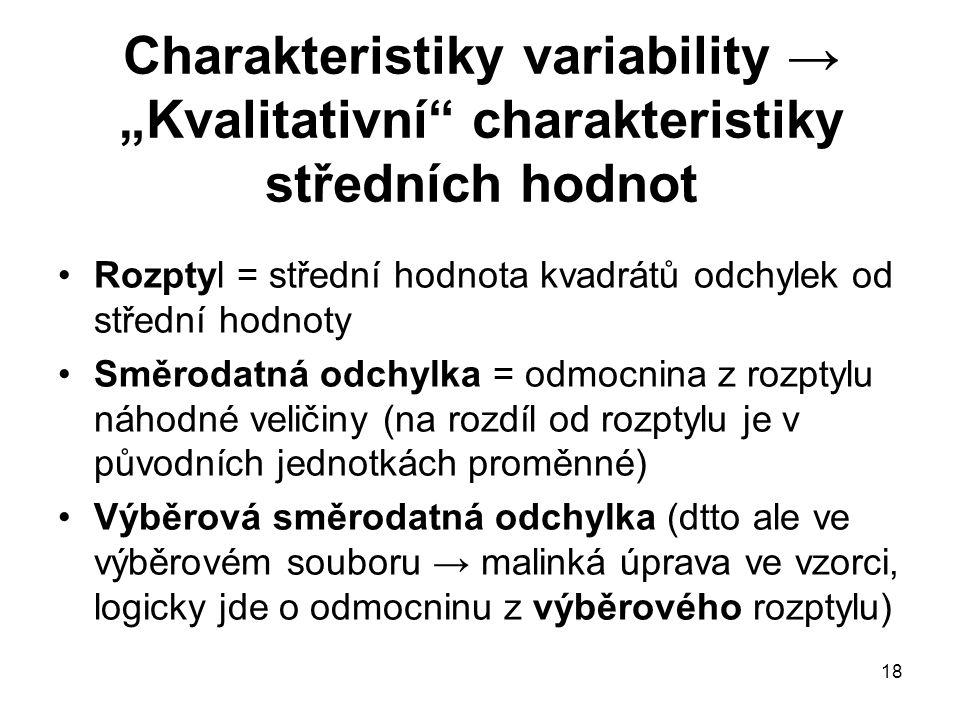 """Charakteristiky variability → """"Kvalitativní charakteristiky středních hodnot"""