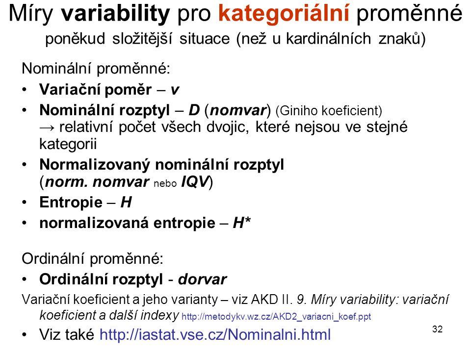 Míry variability pro kategoriální proměnné poněkud složitější situace (než u kardinálních znaků)