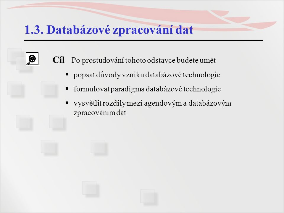 1.3. Databázové zpracování dat