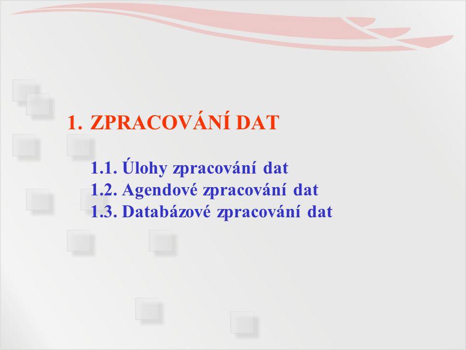 ZPRACOVÁNÍ DAT 1. 1. Úlohy zpracování dat 1. 2