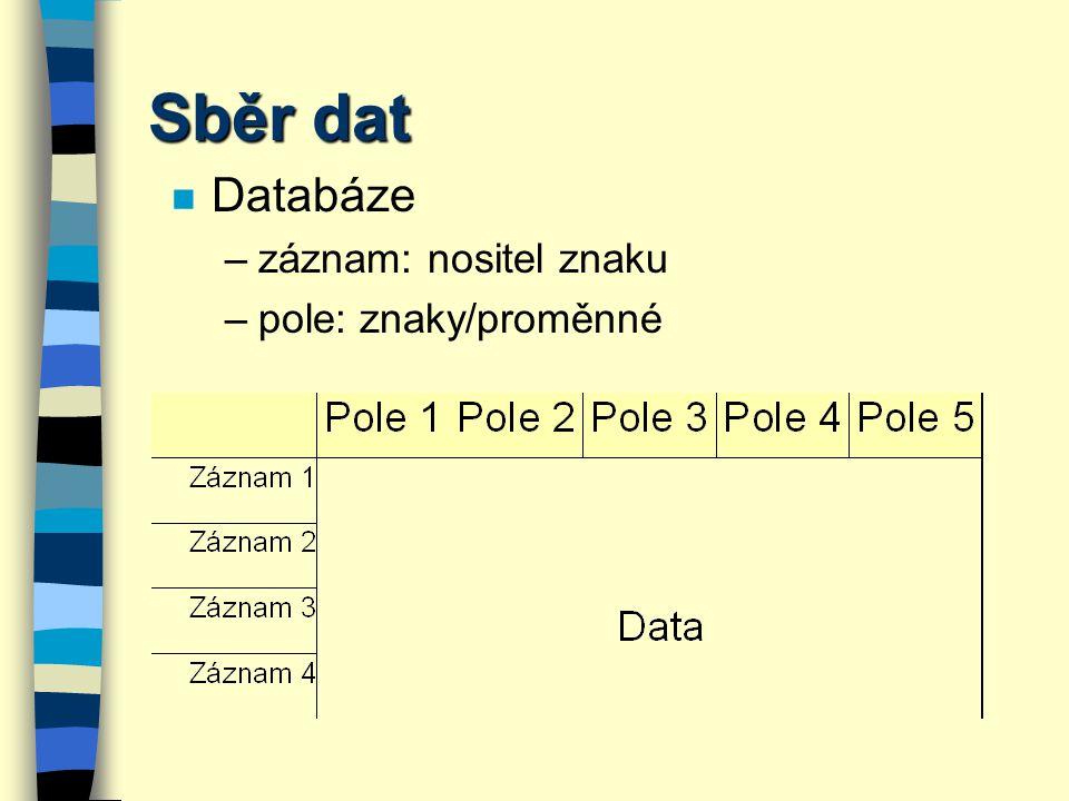 Sběr dat Databáze záznam: nositel znaku pole: znaky/proměnné