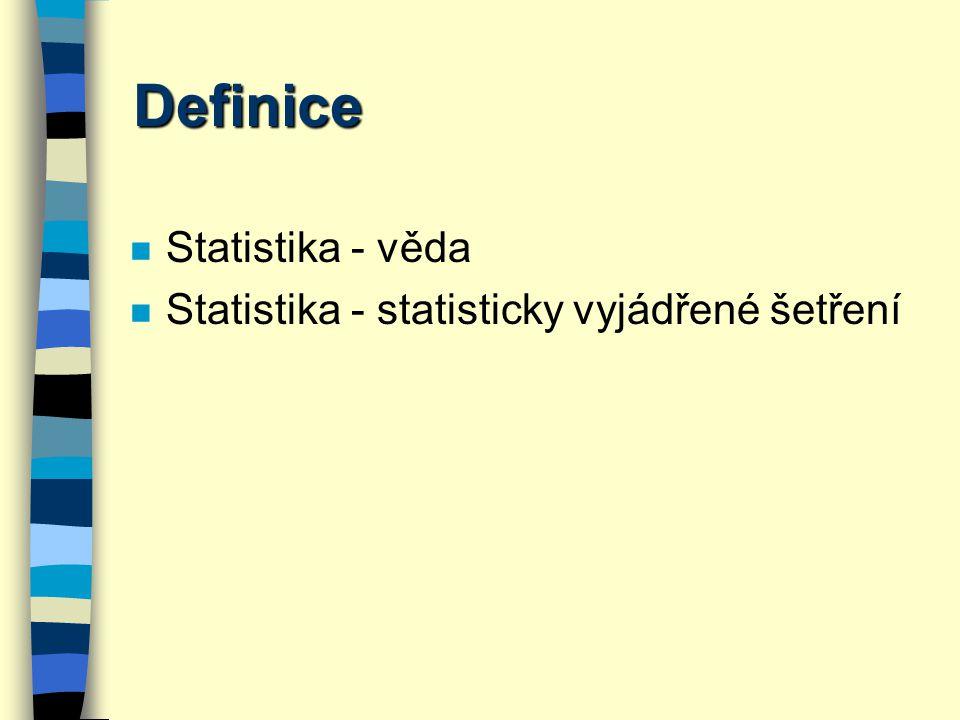 Definice Statistika - věda Statistika - statisticky vyjádřené šetření