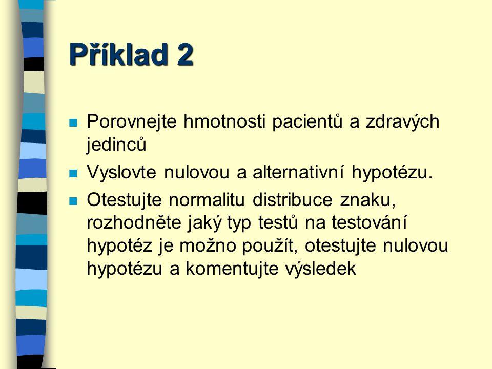 Příklad 2 Porovnejte hmotnosti pacientů a zdravých jedinců