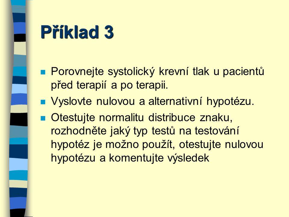 Příklad 3 Porovnejte systolický krevní tlak u pacientů před terapií a po terapii. Vyslovte nulovou a alternativní hypotézu.