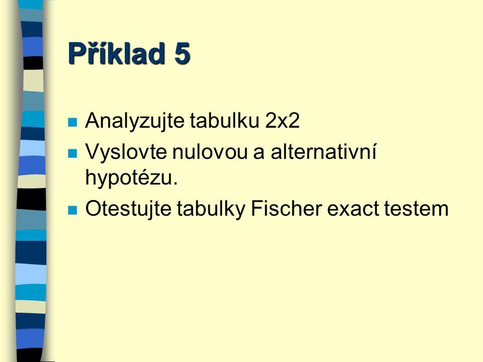 Příklad 5 Analyzujte tabulku 2x2