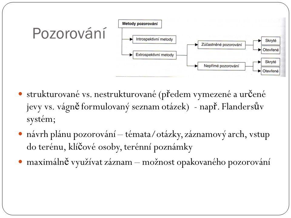 Pozorování strukturované vs. nestrukturované (předem vymezené a určené jevy vs. vágně formulovaný seznam otázek) - např. Flandersův systém;