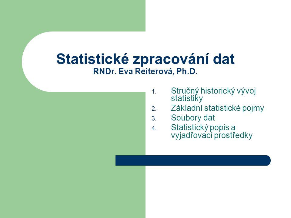 Statistické zpracování dat RNDr. Eva Reiterová, Ph.D.