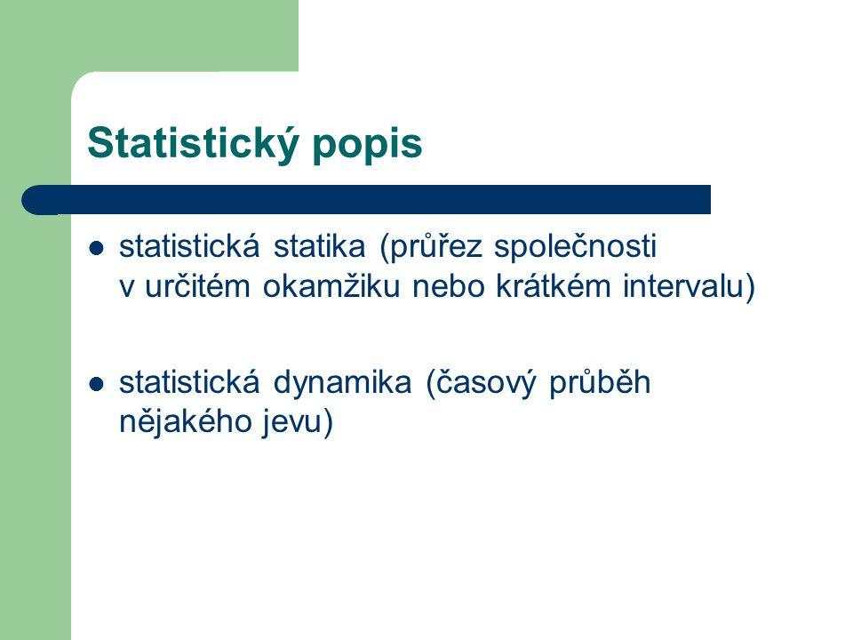 Statistický popis statistická statika (průřez společnosti v určitém okamžiku nebo krátkém intervalu)