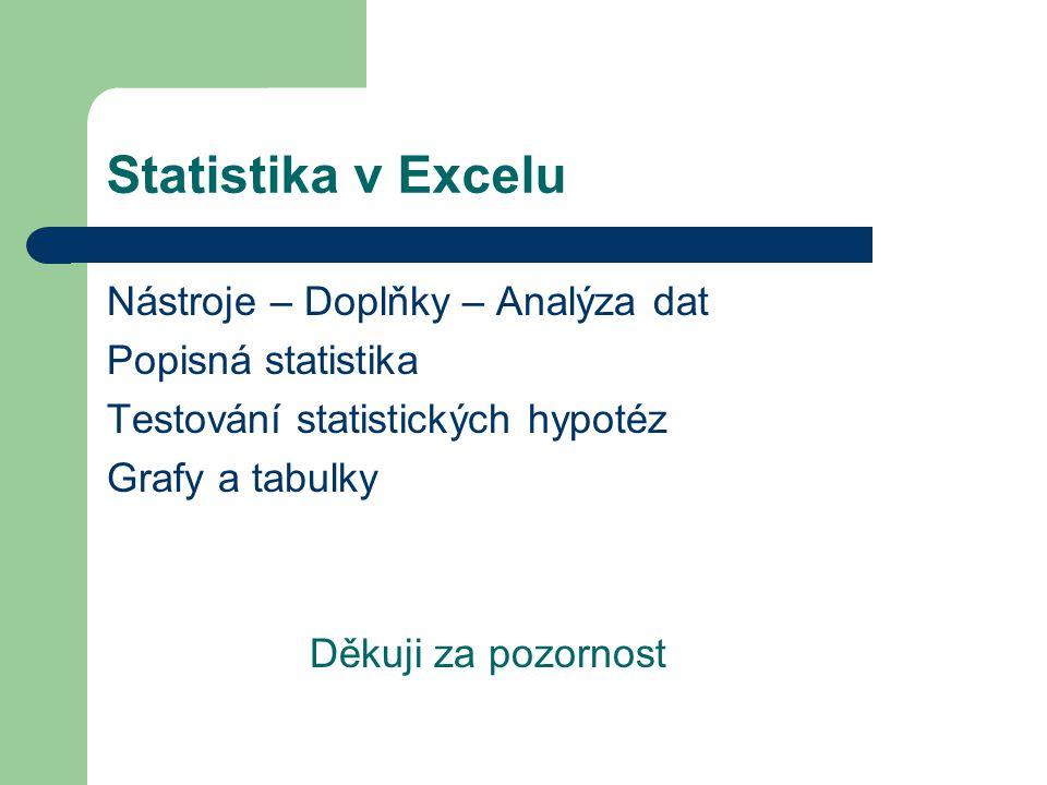 Statistika v Excelu Nástroje – Doplňky – Analýza dat