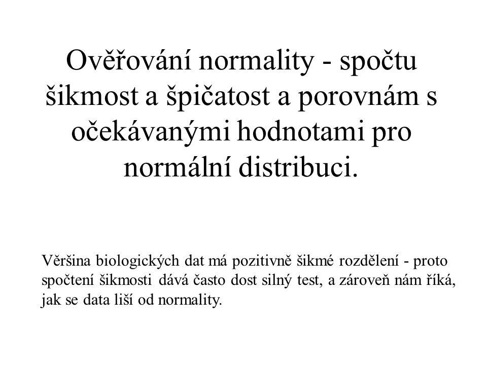 Ověřování normality - spočtu šikmost a špičatost a porovnám s očekávanými hodnotami pro normální distribuci.