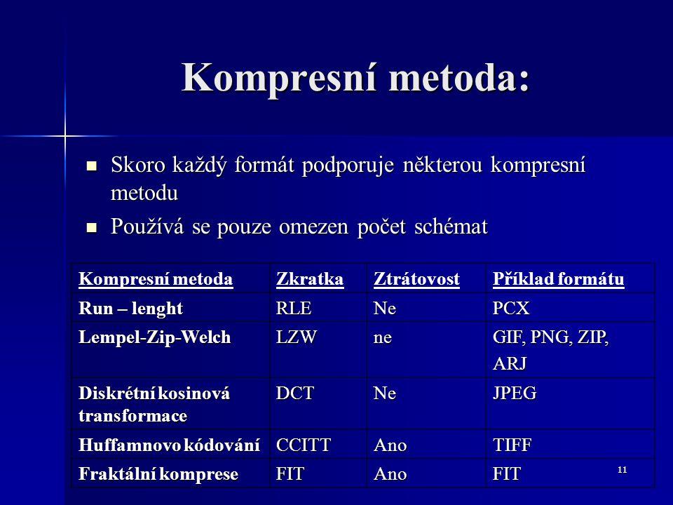 Kompresní metoda: Skoro každý formát podporuje některou kompresní metodu. Používá se pouze omezen počet schémat.