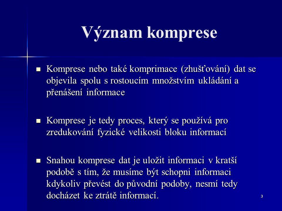 Význam komprese Komprese nebo také komprimace (zhušťování) dat se objevila spolu s rostoucím množstvím ukládání a přenášení informace.
