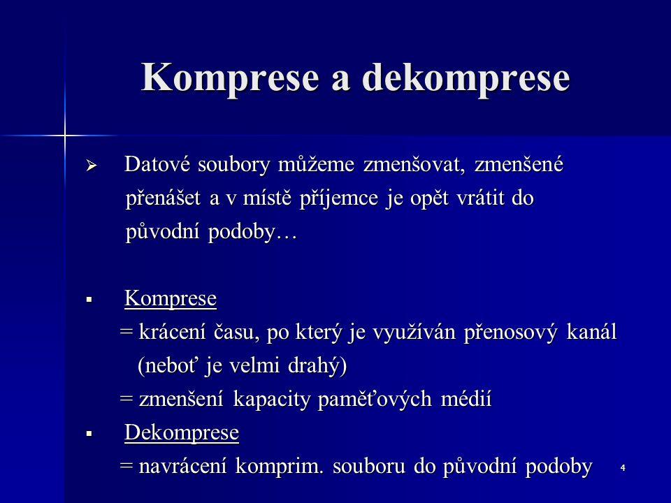 Komprese a dekomprese Datové soubory můžeme zmenšovat, zmenšené