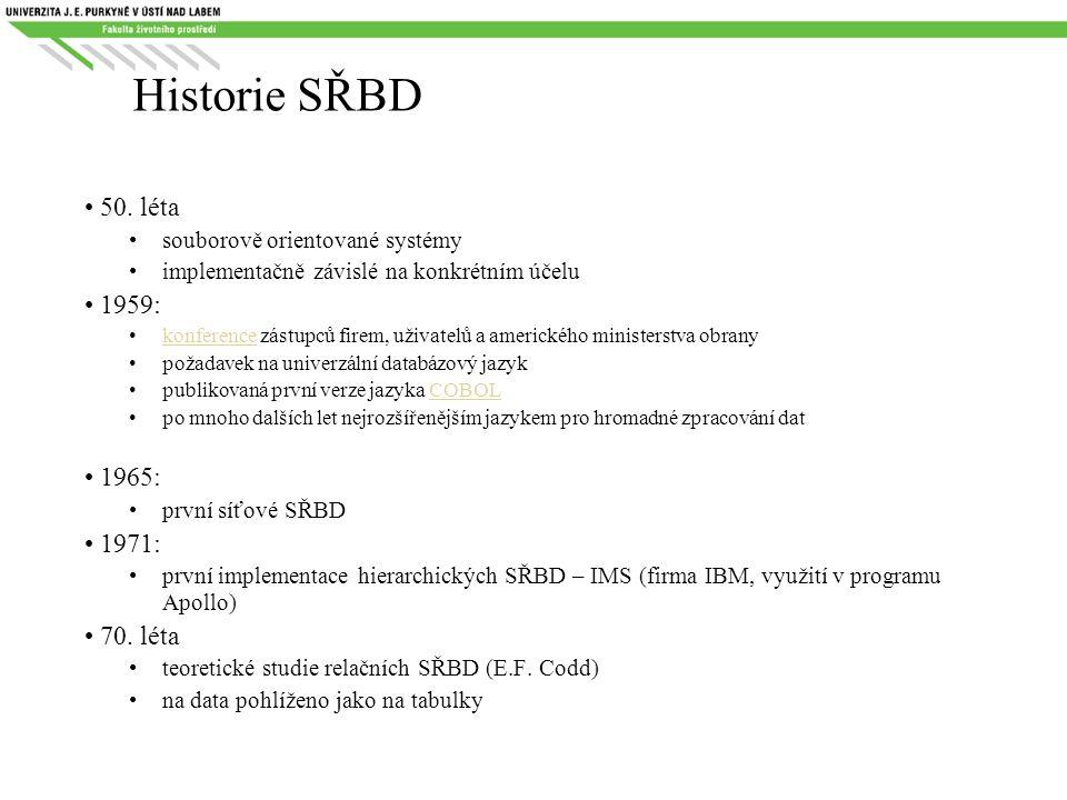 Historie SŘBD 50. léta 1959: 1965: 1971: 70. léta