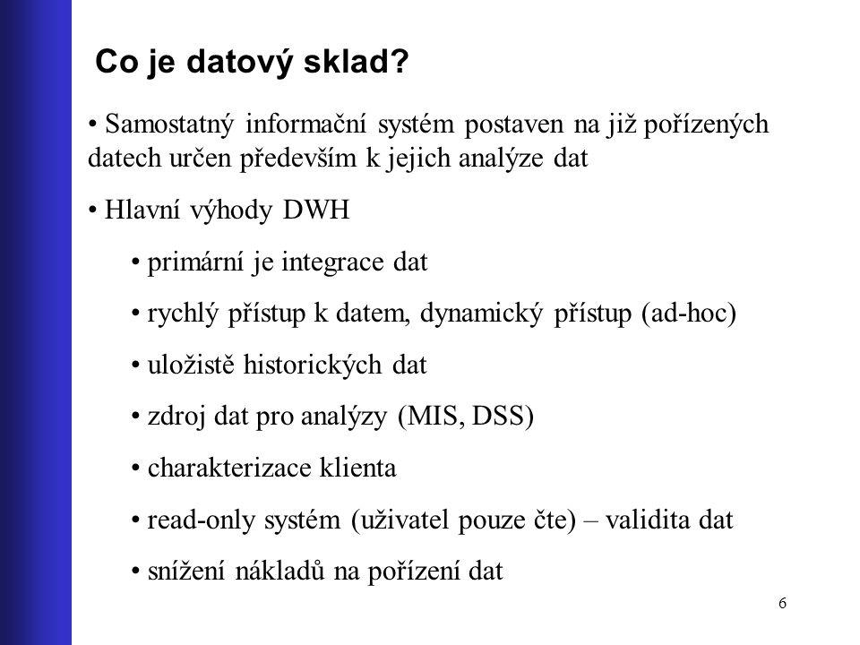 Co je datový sklad Samostatný informační systém postaven na již pořízených datech určen především k jejich analýze dat.