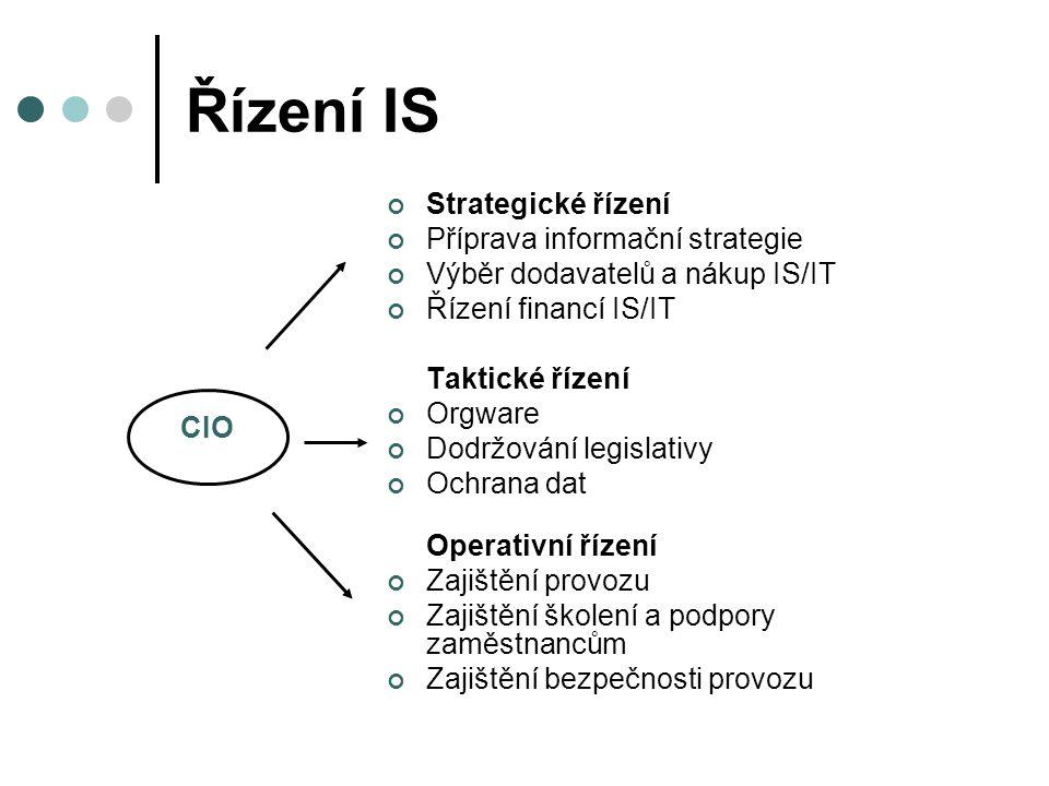 Řízení IS Strategické řízení Příprava informační strategie