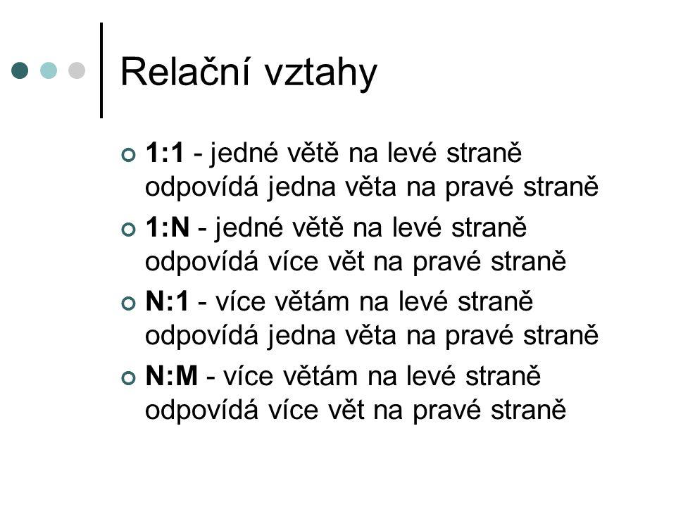 Relační vztahy 1:1 - jedné větě na levé straně odpovídá jedna věta na pravé straně.