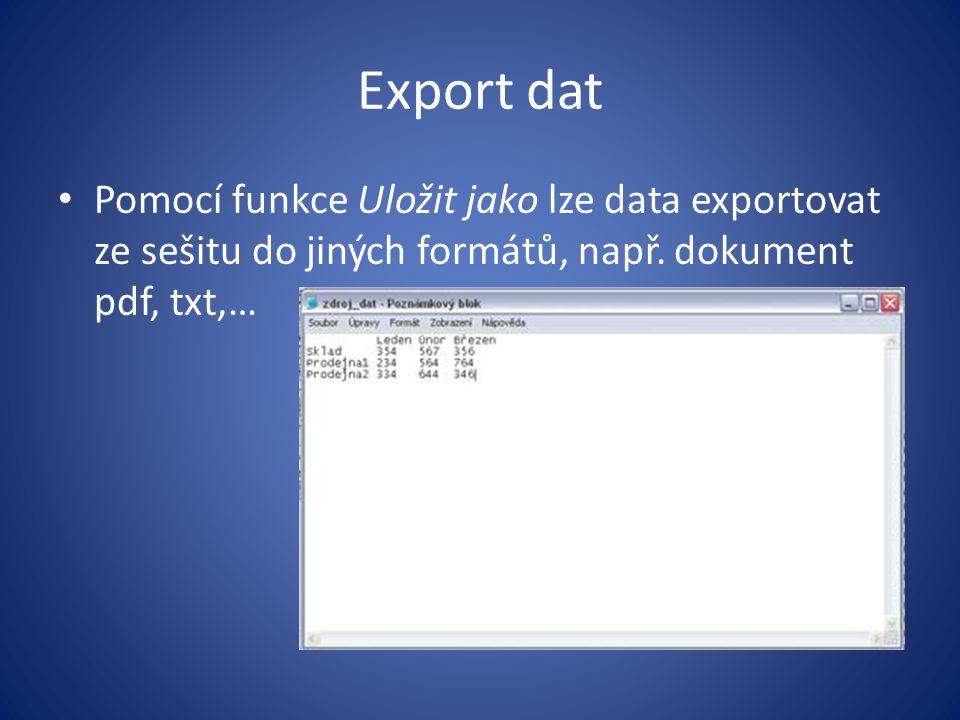 Export dat Pomocí funkce Uložit jako lze data exportovat ze sešitu do jiných formátů, např.