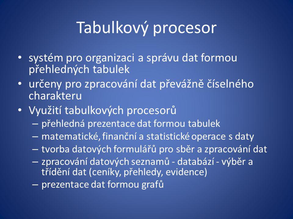 Tabulkový procesor systém pro organizaci a správu dat formou přehledných tabulek. určeny pro zpracování dat převážně číselného charakteru.