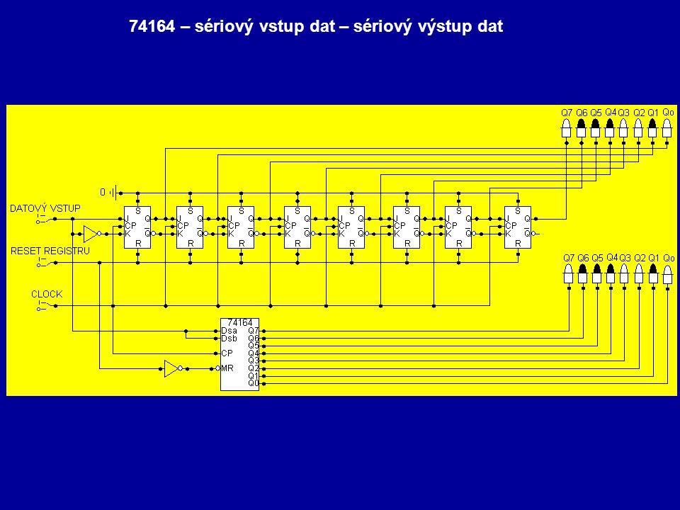 74164 – sériový vstup dat – sériový výstup dat