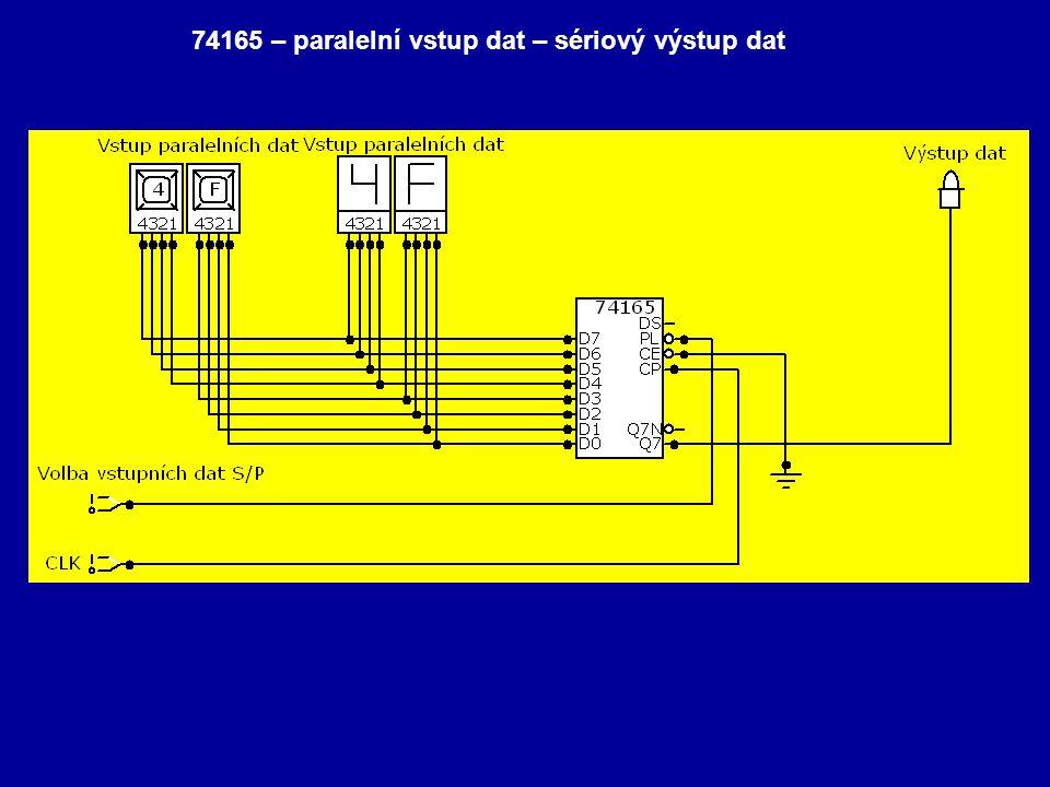 74165 – paralelní vstup dat – sériový výstup dat