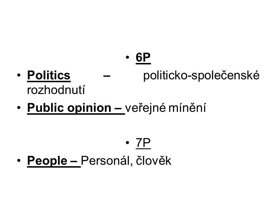 6P Politics – politicko-společenské rozhodnutí. Public opinion – veřejné mínění.