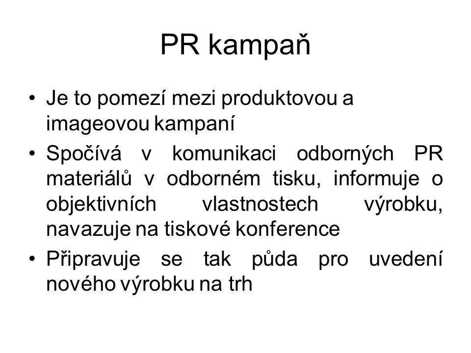 PR kampaň Je to pomezí mezi produktovou a imageovou kampaní