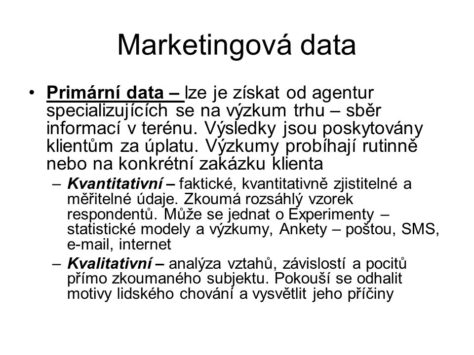 Marketingová data