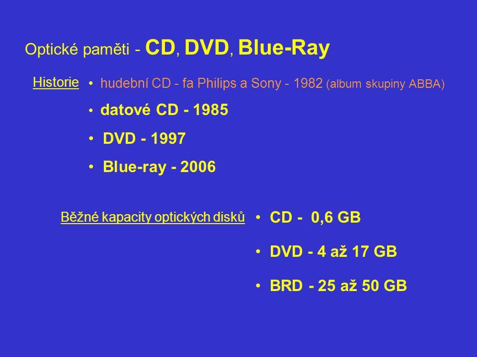 Optické paměti - CD, DVD, Blue-Ray