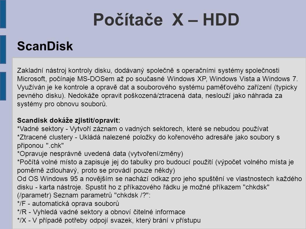 Počítače X – HDD ScanDisk
