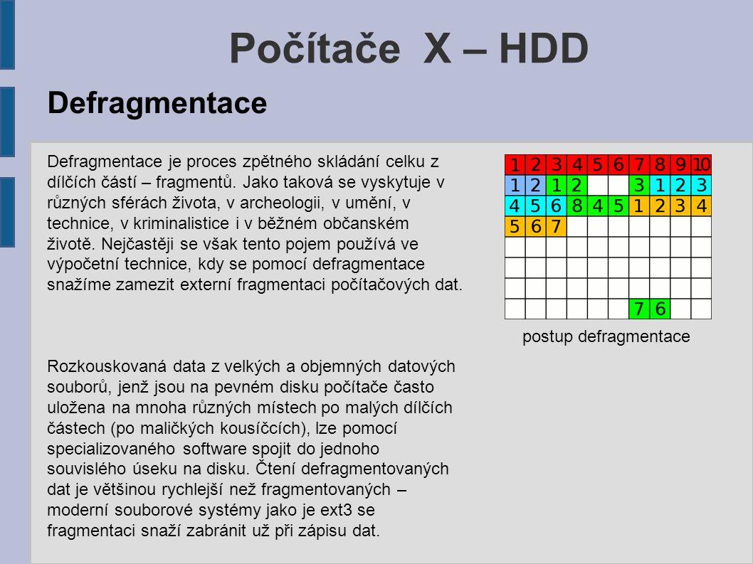 Počítače X – HDD Defragmentace