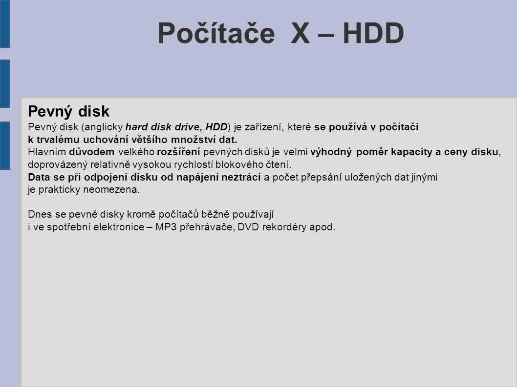 Počítače X – HDD Pevný disk