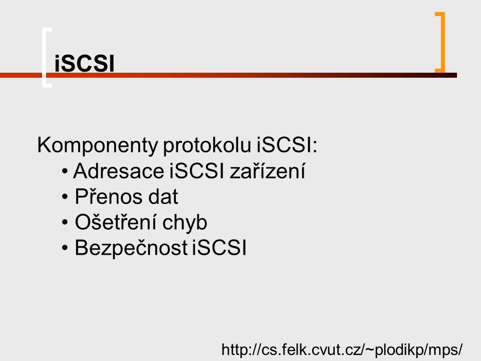 iSCSI Komponenty protokolu iSCSI: Adresace iSCSI zařízení Přenos dat