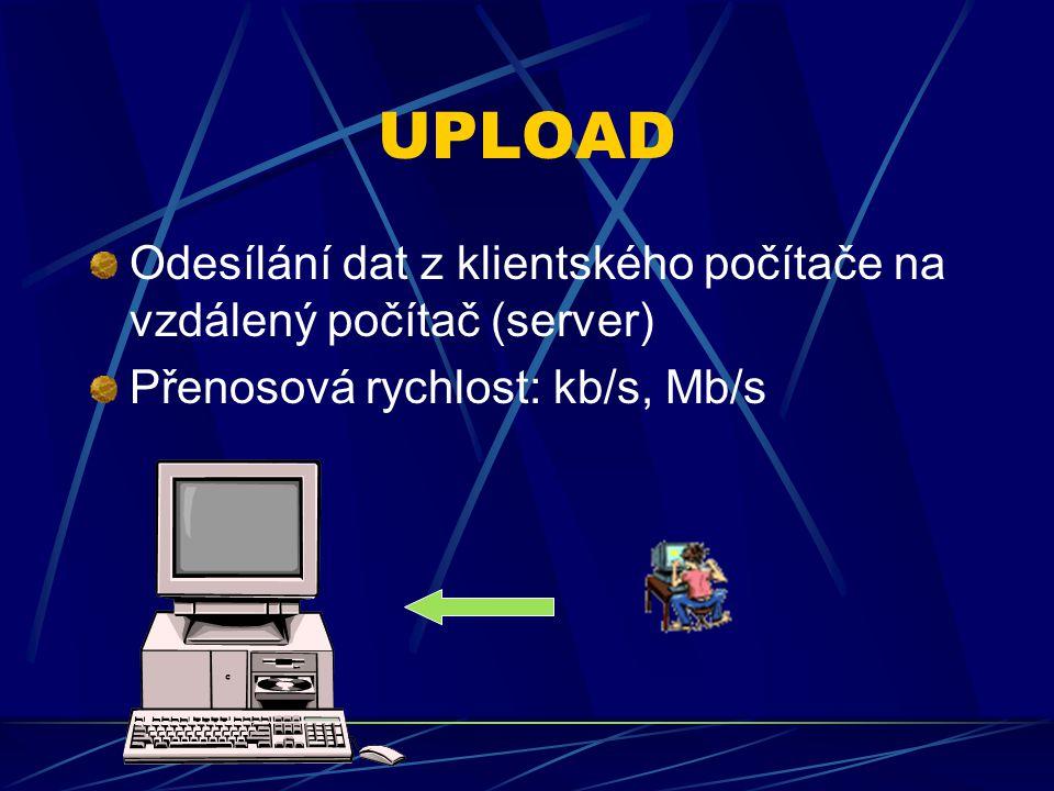 UPLOAD Odesílání dat z klientského počítače na vzdálený počítač (server) Přenosová rychlost: kb/s, Mb/s.