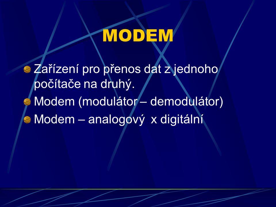 MODEM Zařízení pro přenos dat z jednoho počítače na druhý.