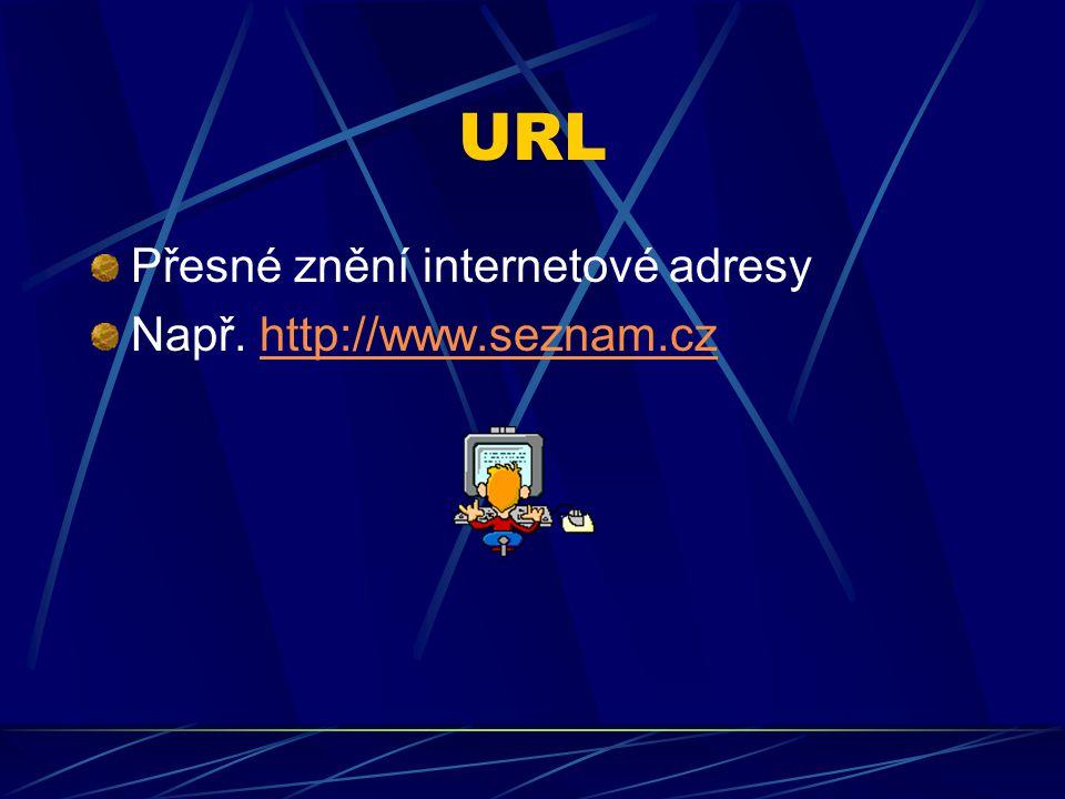 URL Přesné znění internetové adresy Např. http://www.seznam.cz
