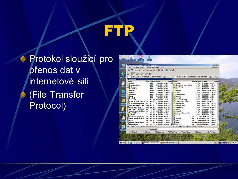 FTP Protokol sloužící pro přenos dat v internetové síti