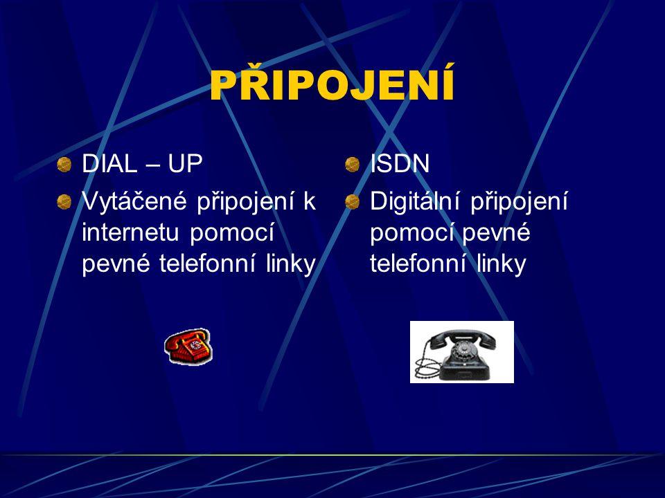 PŘIPOJENÍ DIAL – UP. Vytáčené připojení k internetu pomocí pevné telefonní linky.