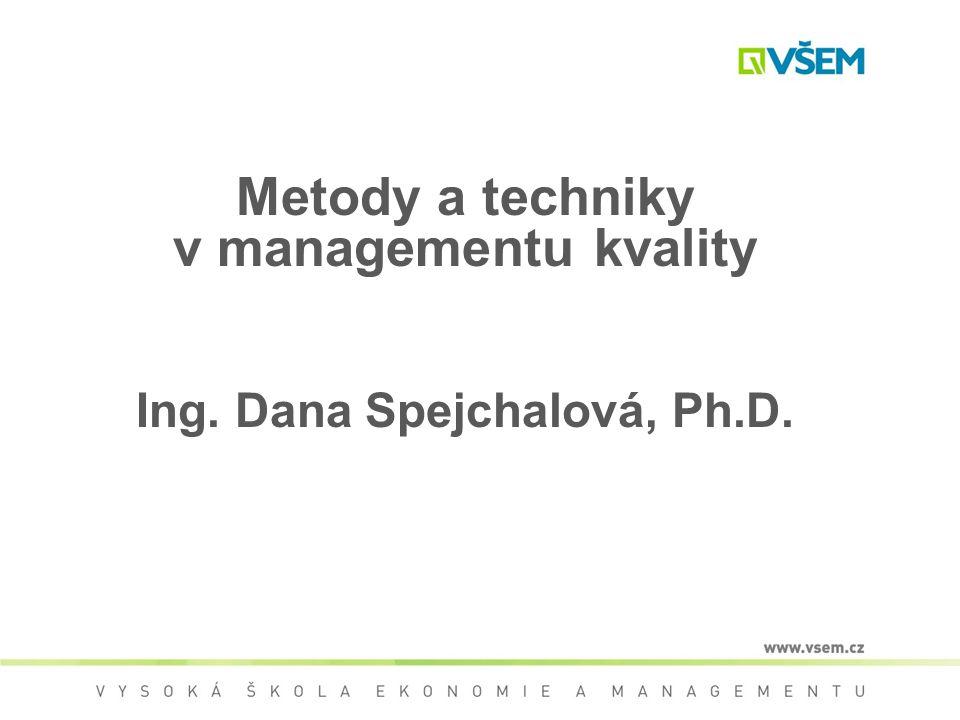 Metody a techniky v managementu kvality Ing. Dana Spejchalová, Ph.D.