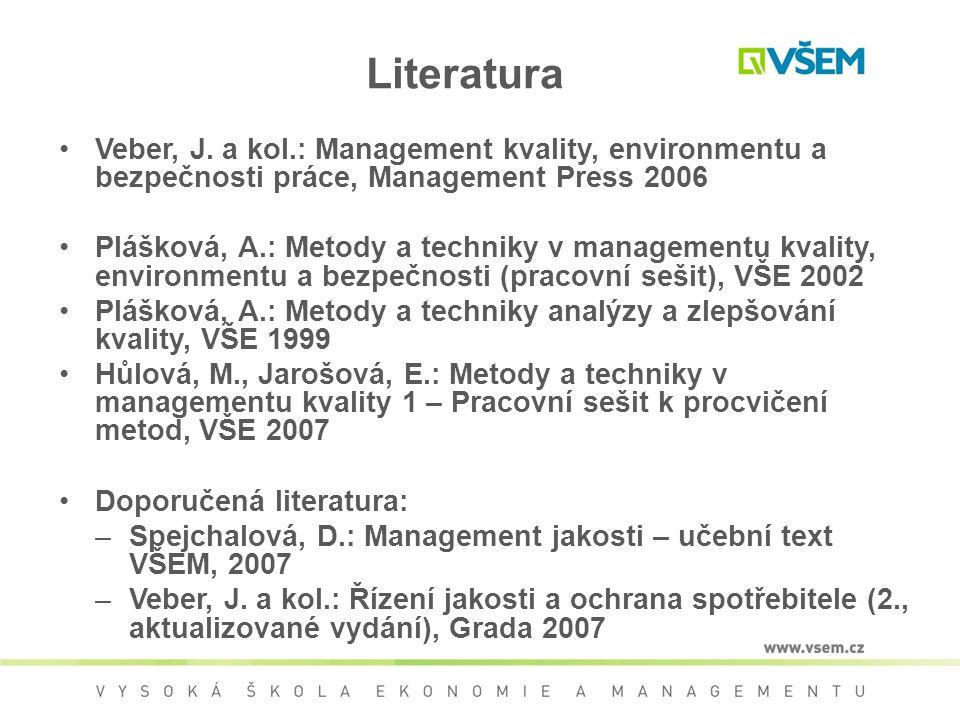 Literatura Veber, J. a kol.: Management kvality, environmentu a bezpečnosti práce, Management Press 2006.