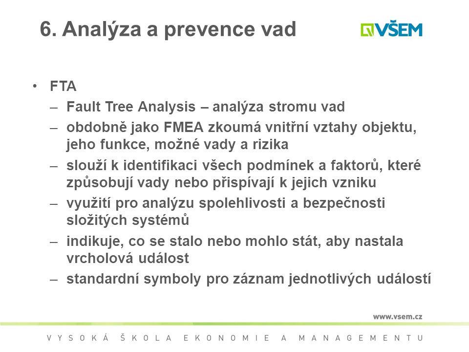 6. Analýza a prevence vad FTA Fault Tree Analysis – analýza stromu vad