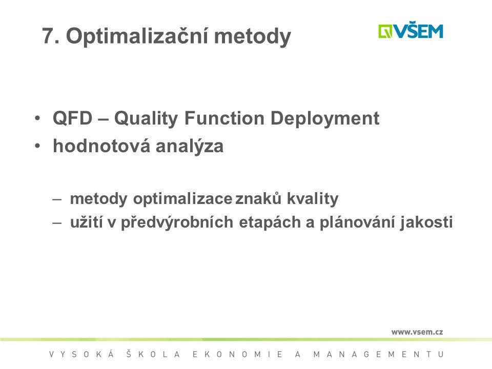 7. Optimalizační metody QFD – Quality Function Deployment