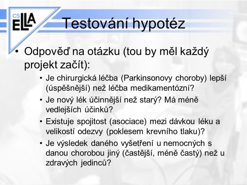 Testování hypotéz Odpověď na otázku (tou by měl každý projekt začít):