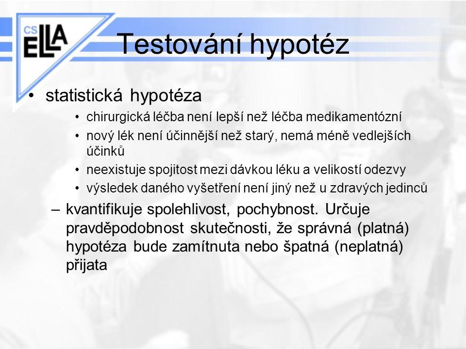 Testování hypotéz statistická hypotéza