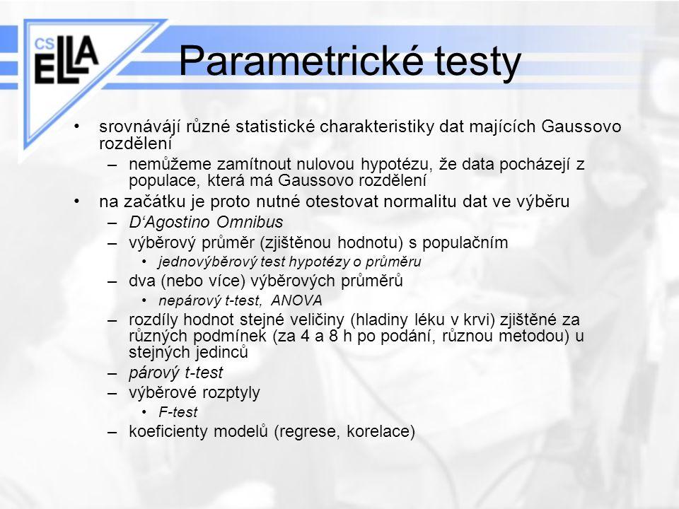 Parametrické testy srovnávájí různé statistické charakteristiky dat majících Gaussovo rozdělení.